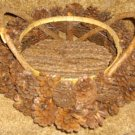 "Antique Handmade 12"" Primitive Basket Made w/Pinecones!"