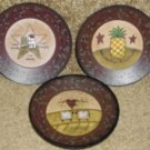 Set of 3 Wonderful Primitive Small Plaques, 4 1/2""