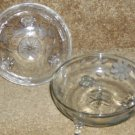 Pair Antique C1890 Deeply Etched Glass Nappy or Bowl NR