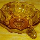 Small Antique C1930 Amber Glass Nappy or Bowl