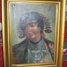 """C1890 Fine Orig Oil Painting 22"""" x 18"""" Lady Genre"""
