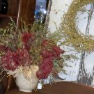 Antique Vase Filled w/Dried Floral Grasses & Hydrangeas