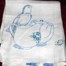 Vintage Hand Embroidered Blue & White Pure Linen Kitchen Towel