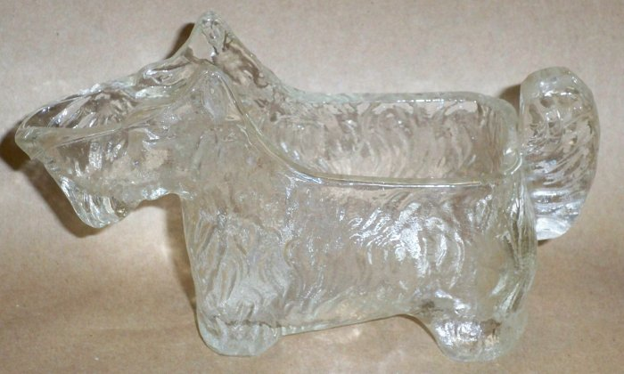Antique Glass Candy Holder, Scotty Dog, Pipe Holder