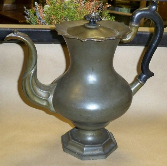 """C1820 Reed & Barton Large 13"""" Pewter Footed Coffee Pot"""