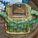 Early C1850 Majolica Teapot, Greens