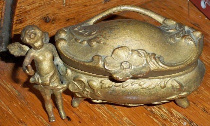 Antique C1885 Art Nouveau Jewelry Caster w/Cupid