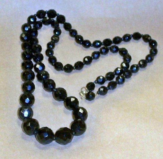 """28"""" Vintage Black Cut Jet Glass Graduated Necklace"""