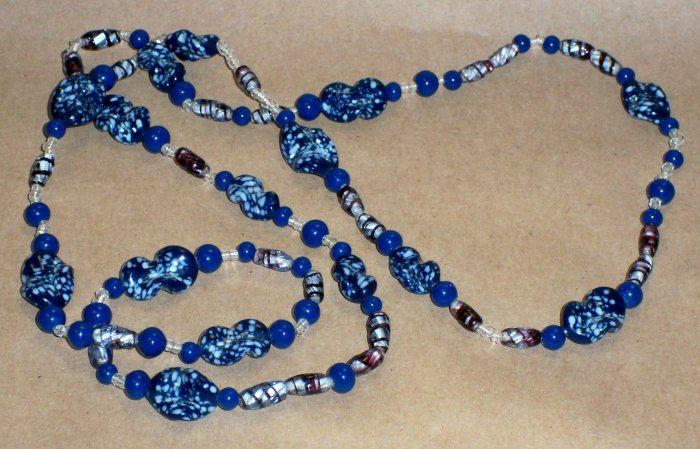 "Vintage Peking Glass Strand of Beads, GORGEOUS 30"" Strand. each one about 1/2"" long."
