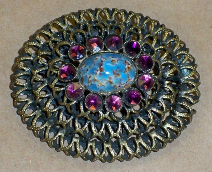 40's Vintage Signed Kandell & Marcus N.Y. Brooch w/Purple & Turquoise Stones