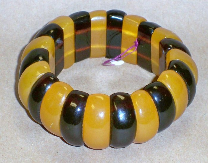 Wide Vintage Natural Baltic Cherry & Butterscotch Amber Bangle Bracelet