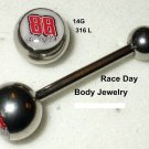 #88 DALE EARNHARDT JR NASCAR Logo Tongue Barbell Ring