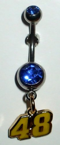 DANGLE BELLY RING #48 JIMMIE JOHNSON NASCAR AUTO RACING