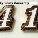 EARRINGS POST/STUD #14 TONY STEWART NASCAR RACE JEWELRY