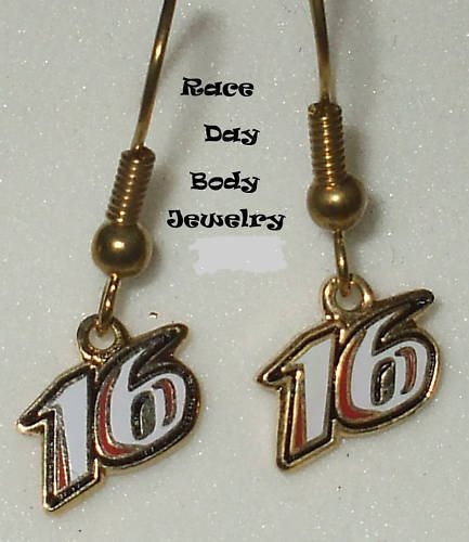 EARRINGS DANGLE #16 GREG BIFFLE NASCAR RACING JEWELRY
