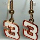 EARRINGS DANGLE #3 DALE EARNHARDT SR NASCAR JEWELRY