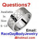 CHECKERED FLAG CHECKERBOARD STAINLESS RING SIZE 5-13 MX AUTO RACING BODY JEWELRY