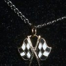 CHARM CHAIN NECKLACE CHECKERED FLAGS NASCAR AUTO RACING RACE DAY BODY JEWELRY