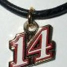 14 CHARM ON BLACK LEATHER NECKLACE NASCAR AUTO RACING RACE DAY BODY JEWELRY