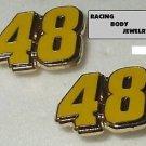 POST STUD EARRINGS #48 JIMMIE JOHNSON NASCAR SPRINT CUP AUTO RACING RACE JEWELRY