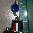 DANGLE BELLY RING TRI-BAR FORD MUSTANG HORSE PONY AUTO RACING RACE JEWELRY BLUE