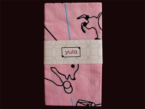 Tenugui Japanese Cotton Towel/ Animals, Pink from Japan