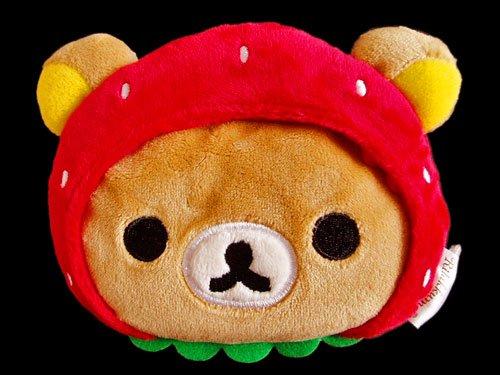 Rilakkuma, Relax Bear w/ Strawberry Hood Coin Purse New