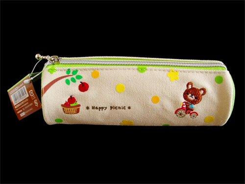 Japanese Cute Pen Case Pouch, Happy Picnic, Bear Green