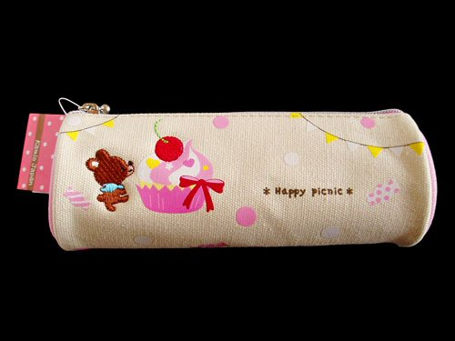 Japanese Cute Pen Case Pouch, Happy Picnic, Bear Pink