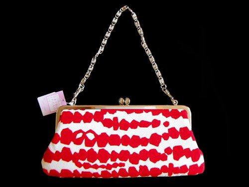 Japanese Elegant Chirimen Crepe Bag, White & Red, New!
