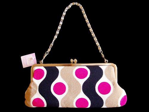 Japanese Elegant Chirimen Crepe Bag, Pink Polka Dots