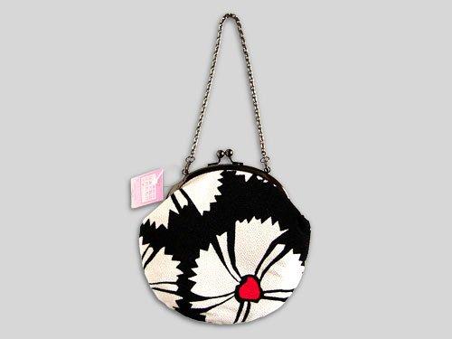 Round Japanese Chirimen Crepe Bag, Dianthus Prints, New