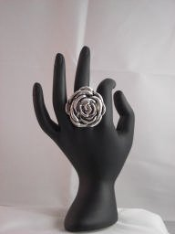 Stainless Stell Rose Design Ring (Size Adjustable)