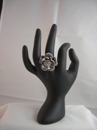 Stainless Steel CZ Flower Ring (Size Adjustable)