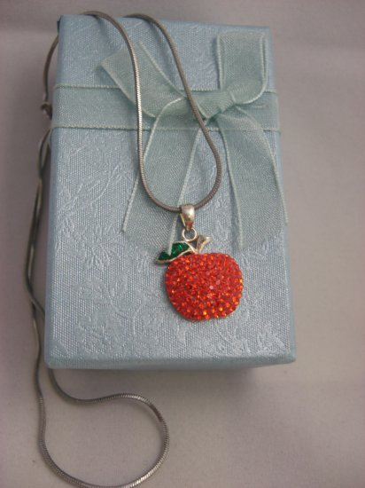 Bling Bling Crystal Apple Pendant Necklace