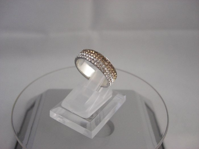 Crystal Progressive Color Gold & White Ring (Size 8)