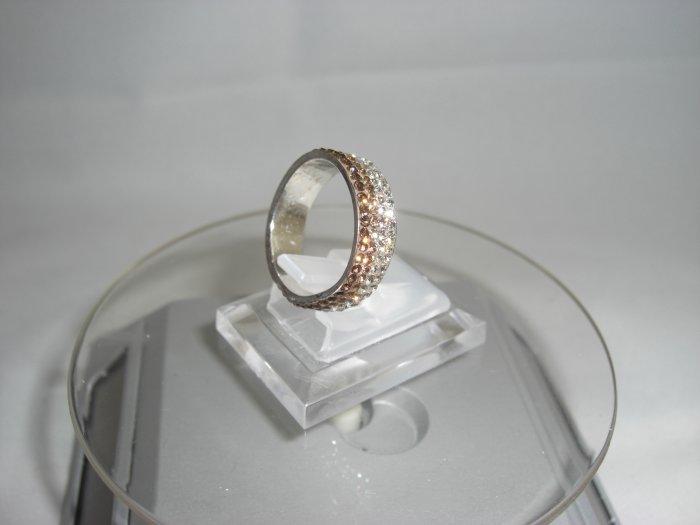 Crystal Progressive Color Gold & White Ring (Size 7)