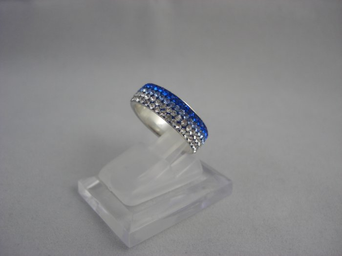 Crystal Progressive Color Blue & White Ring (Size 7)