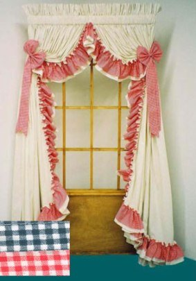 AMY DOUBLE RUFFLED GINGHAM SWAG CURTAINS - 135 W x 72 L