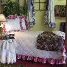 AMY DOUBLE RUFFLED GINGHAM BEDSPREAD - QUEEN SIZE