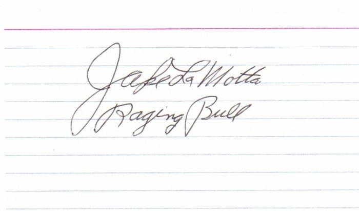 """Jake Lamotta signed 3x5 """"RAGING BULL"""" Boxer #1"""