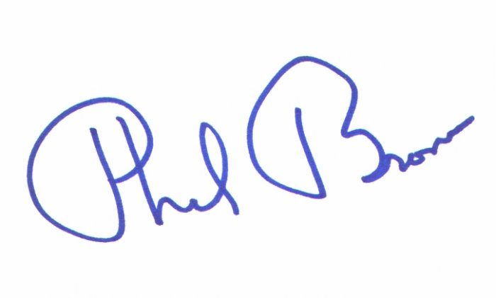 Phil Brown signed 3x5 (Uncle Owen Lars, in Star Wars Episode IV: A New Hope (1977))