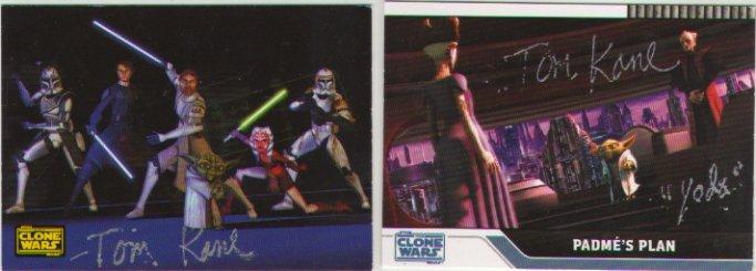 Tom Kane signed x2 Clone Wars Cards (YODA, Star Wars The Clone Wars) x2