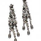 Black Earring Chandelier Drop Metal Casting Crystal Studs 4 Inch Drop / 53527-692BNBLK
