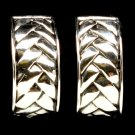 Silver Colored Earring Clip On Metal Casting Arch Texture Patterned 1 Inch Drop 32533-09303RDSIV