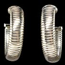 Silver Colored Earring Post Earring Omega Chain 10 Mm Chain Width 1 1 4 Inch Drop 32528-41514RDSIV
