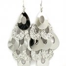 Silver Colored Earring Fish Hook Cascade Tear Drop Texture Various Finishes 3 1 2 I 32528-34592RDSIV