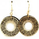 Gold Colored Earring Fish Hook Formica Filigree Rings Texture 1 3 4 Inch Drop 32528-10773TTGOD