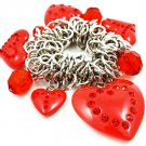 Red Bracelet Stretch Valentine Hearts Beads Crystal Studs 1 Inch Drop 32230-01097RDRED