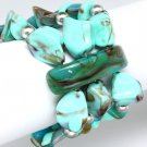 Turquoise Bracelet Stretch Natural Stone Peral 2 Inch Width 32228-35596TUQ
